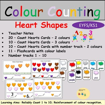 Colour Count Heart Shapes Task Cards, Flashcards, Number Track, Teacher Notes
