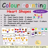 Colour Counting Heart Shapes Task Cards, Flashcards, Numbe
