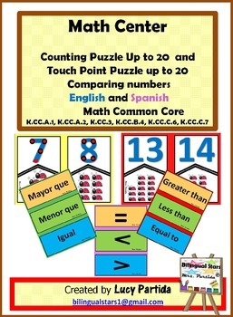 Counting and Comparing Numbers Puzzle Bilingual Stars Mrs Partida