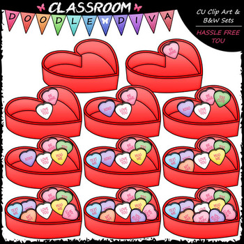 (0-10) Counting Conversation Hearts - Sequence, Counting & Math ClipArt & B&W
