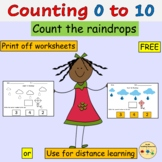Counting Counting Raindrops Numbers 0 to 10 Worksheets Dis