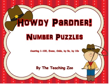 Counting Cowboys! Number Puzzles HUGE Bundle! {1-100, even