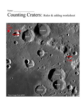 Counting Craters: Ruler and adding practice