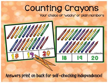 Counting Crayons 1-20   Clip Cards