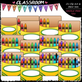 (0-12) Counting Crayons Clip Art - Sequence, Counting & Math Clip Art & B&W Set