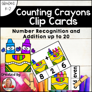 Counting Crayons Clip Cards: Number Recognition and Addition to 20