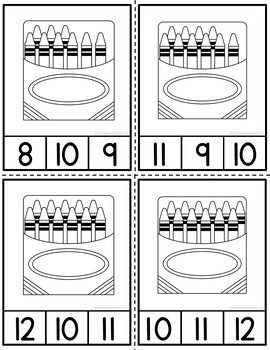 Counting Crayons Clip Cards and Reader 1-12