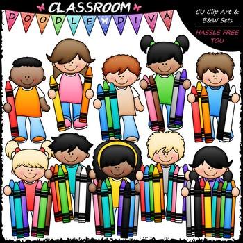 Counting Crayons Kids Clip Art - Math Kids Clip Art & B&W Set