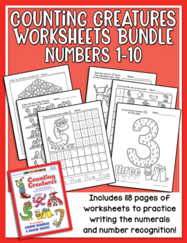 Counting Creatures 1-10 Number Worksheets