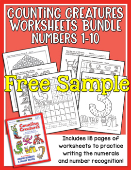 Counting Creatures 1-10 Number Workbook Sample