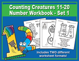 Counting Creatures 11-20 Number Worksheets - Set 1