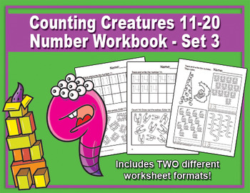 Counting Creatures 11-20 Number Worksheets - Set 3