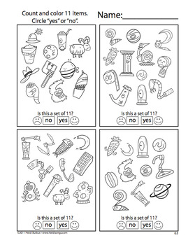 Counting Creatures 11-20 Number Worksheets - Set 4