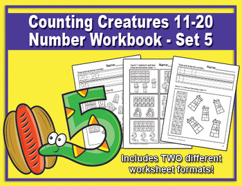 Counting Creatures 11-20 Number Worksheets - Set 5