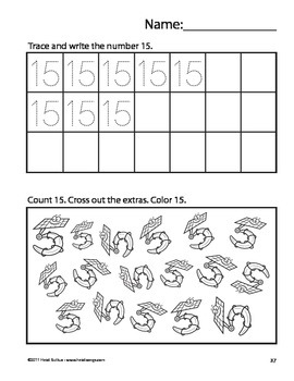 Counting Creatures 11-20 Number Workbook Sample