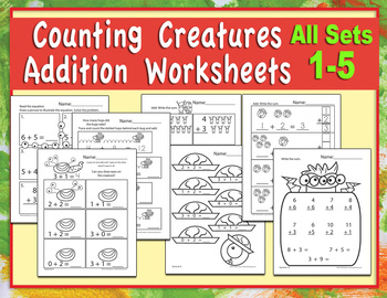 Counting Creatures Addition Worksheets - All Pages