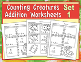 Counting Creatures Addition Worksheets - Set 1 - Heidi Songs