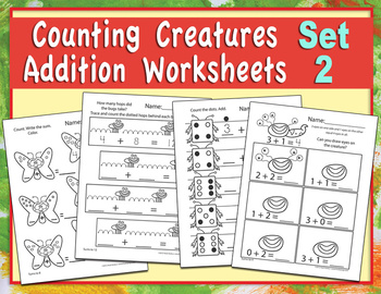 Counting Creatures Addition Worksheets - Set 2