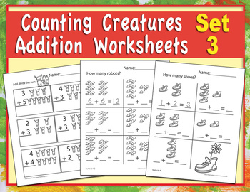Counting Creatures Addition Worksheets - Set 3