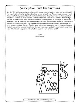 Counting Creatures Addition Worksheets - Set 4