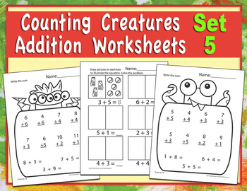 Counting Creatures Addition Worksheets - Set 5