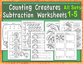 Counting Creatures Subtraction Worksheets - All Pages