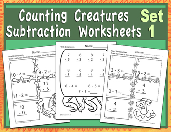 Counting Creatures Subtraction Worksheets - Set 1