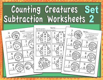Counting Creatures Subtraction Worksheets - Set 2