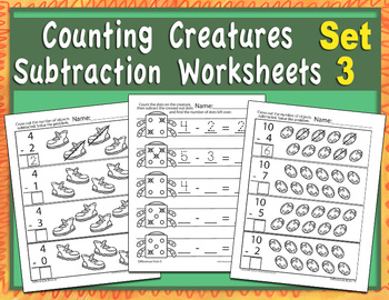 Counting Creatures Subtraction Worksheets - Set 3