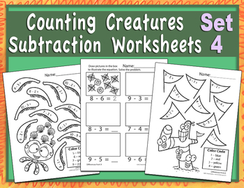 Counting Creatures Subtraction Worksheets - Set 4