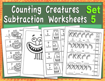 Counting Creatures Subtraction Worksheets - Set 5 (Monster Teeth Subtraction)