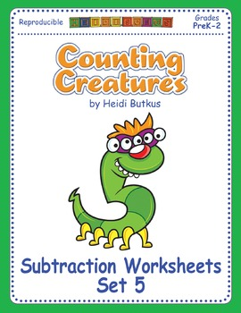 Counting Creatures Subtraction Worksheets - Set 5