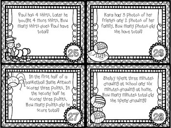 Counting Critters: Addition Word Problems Within 10 - CCSS Aligned