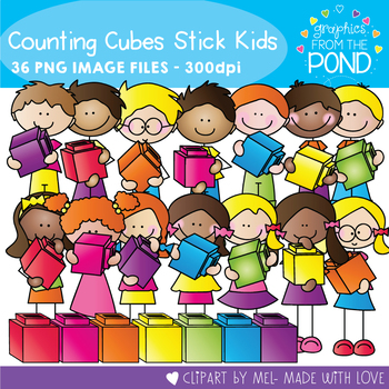 Counting Cube Stick Kids Clipart