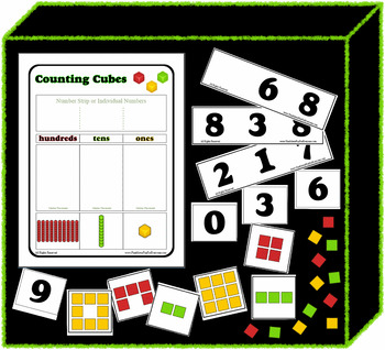 Counting Cubes Math Center / Small Group - Mat and Cards Printable