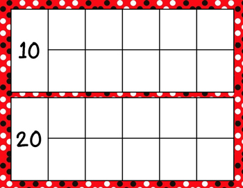 Counting Days Ten Frames and Posters - Red, White, Black Dots