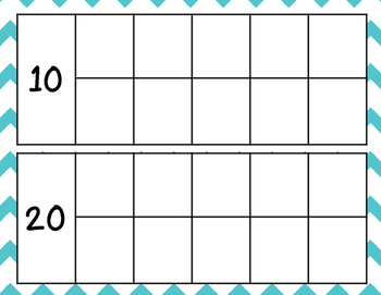 Counting Days Ten Frames and Posters - Teal Chevron