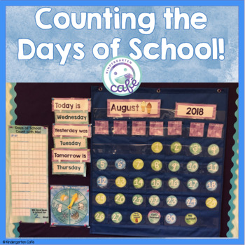 Counting Days of School: Watercolor Blue and Green Theme