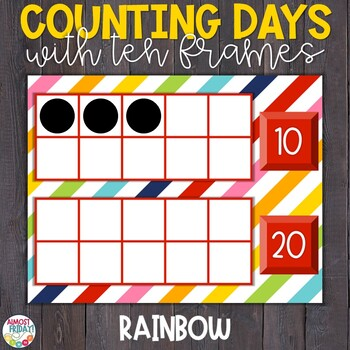 Counting Days of School with Ten Frames Colorful Stripes by Almost ...