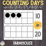 Counting Days of School with Ten Frames Whitewashed Wood