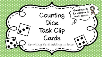 Counting Dice Task Clip Cards