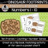 Counting Dinosaur Footprints Math Flip Book Numbers 1-10 Center Pocket Chart