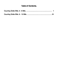 Counting Dollar Bills Worksheets