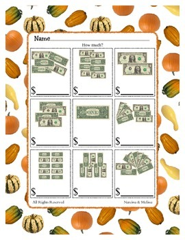 Counting Dollar Bills - Money ~ One Work Sheet ~ Many Seasons / Holidays