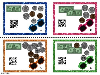 Counting Dollars and Cents Task Cards with QR Codes (2nd gr. CCSS aligned)