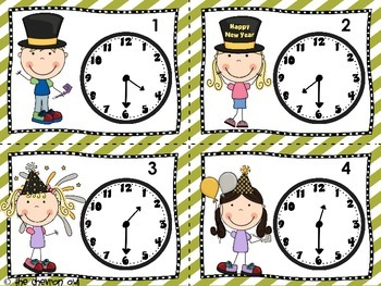 Counting Down To the New Year Telling Time SCOOT/Walk the Room Activities