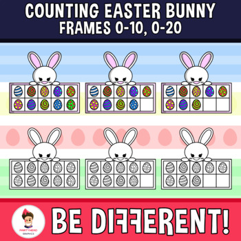 Counting Easter Bunny Frames Clipart (0-10, 0-20)