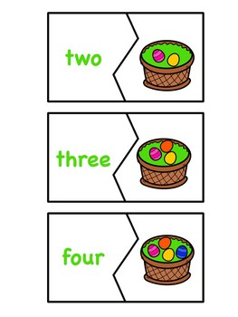 Counting Easter Eggs - Spring Numbers and Number Words 0-10