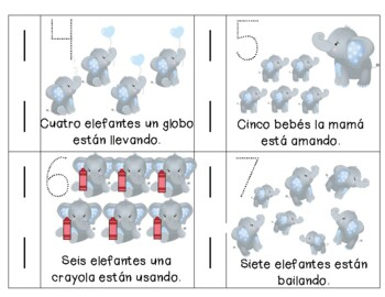 Emergent Reader in Spanish: Counting Elephants 1-5 and Action Words