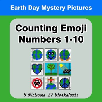 Counting Emoji | Counting Numbers 1-10 - Earth Day Color By Number
